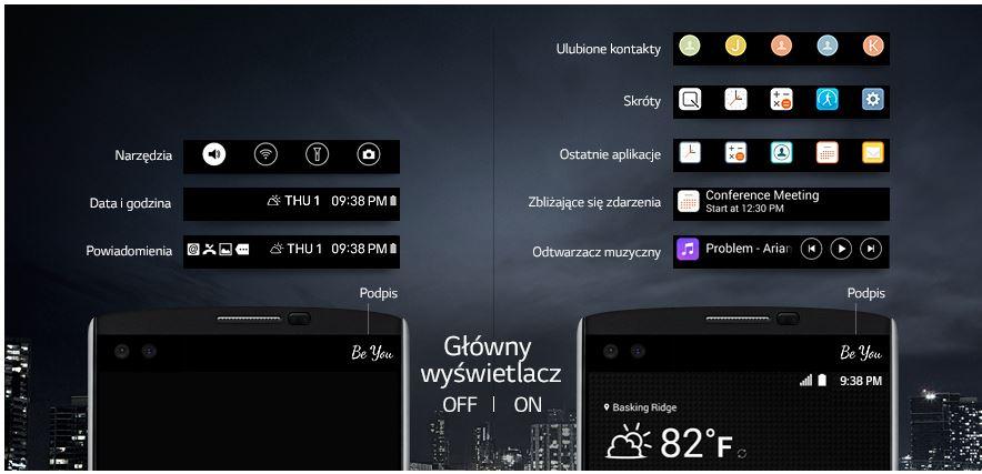 LG V10 widok ekranów